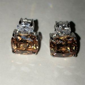 Amber and Clear CZ Studs